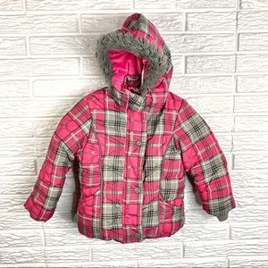 Big Chill Girls Pink & Grey Hooded Winter Coat